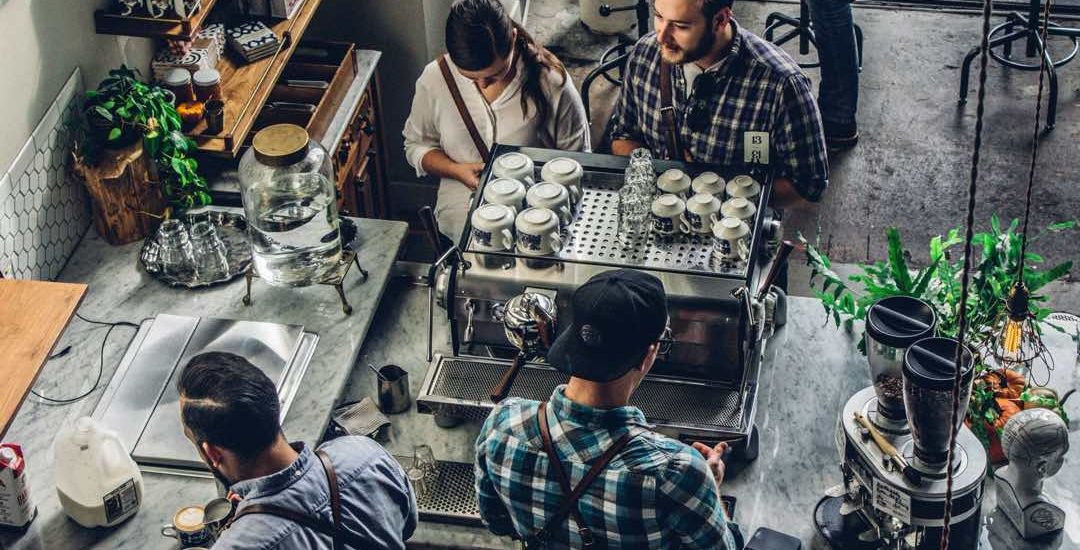 Restaurant or Coffee Shop barista server with customers