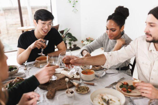 Diverse friends eating lunch, dinner, breakfast, Happy servers, barista teamwork, coffee
